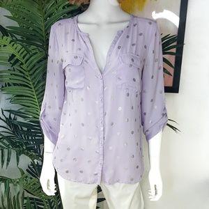 New York & Co. Violet & Silver Polka Dot Shirt M